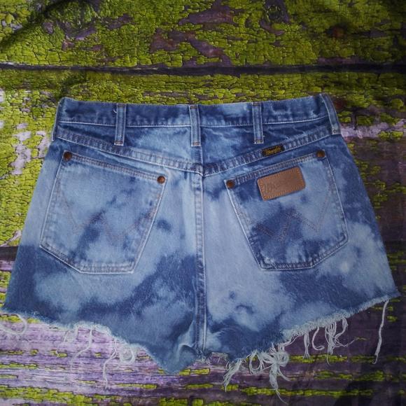 Wrangler Pants - Vintage WRANGLER M Bleach Denim High Waist Shorts